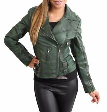 NEW Womens Genuine Leather Cross Zip Jacket Fitted Biker Casual Style Green