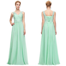 Long Chiffon Evening Formal Party Ball Gown Prom Bridesmaid Dress UK Size 4-18