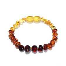Child Rainbow Bright Mixed Baltic Amber Anklet Love Amber X UK
