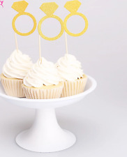 12x Engagement Ring Cupcake Toppers Shimmer Party Gold Silver Wedding Small