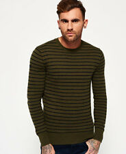 New Mens Superdry Orange Label Stripe Crew Neck Jumper Pine