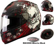 Casco Moto VIPER RS250 Casco Integrale Full Face Crash Sportivi Corsa, SKULL RED