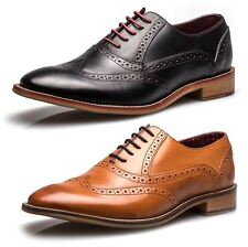 London Brogues George Mens Leather Wingtip Formal Lace Up Brogue Shoes Tan Black