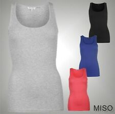 Ladies Branded Miso Block Coloured Ribbed Tank Scooped Vest Cotton Top Size 8-18