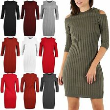 Womens Ladies Ribbed Knitted Cold Cut Out Shoulder Long Sleeve Bodycon Dress