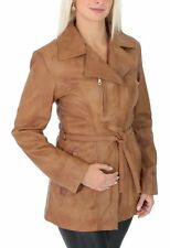 Womens Genuine Leather Mid Length Jacket with Belt Slim Fit Casual Style Tan