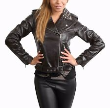 Ladies Real Leather Biker Style Studded Jacket with Belt Fitted Cut Brown