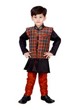 Kids ethnic dresses baby clothing boys suit kurta pajama with Jacket Red Black
