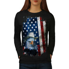 Wellcoda Eagle Cowboy Hat Flag Womens Long Sleeve T-shirt, Eagle Casual Design