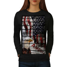 Wellcoda American Eagle Flag USA Womens Long Sleeve T-shirt, Eagle Casual Design