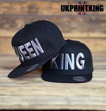 8f35966d20b KING AND QUEEN SNAPBACK PAIR FASHION EMBROIDERED RAPPER CAPS HIP-HOP HATS  SILVER
