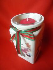 CRAZY MOUNTAIN  Santa Ceramic Pottery Jar   with Candle     New In Box