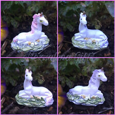 Tiny Lilac Pink & White Magical Unicorn Fairy Garden Ornament In Gift Bag 08616