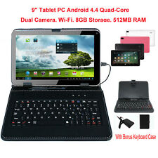 """9"""" Quad Core 8GB Tablet PC Android4.4 Dual Kamera WiFi Bluetooth Kinder Geschenk"""