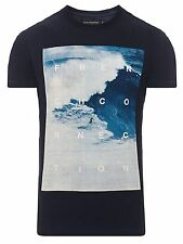 French Connection Summer Surf Beach Ocean Print T-Shirt Blue Slim Fit Cotton Tee