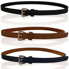 CHILDRENS REAL LEATHER SKINNY BELTS GIRLS BELTS KIDS SKINNY BELTS GOLD BUCKLE