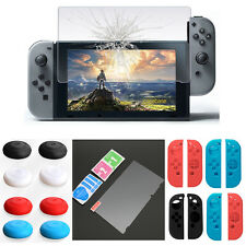 For Nintendo Switch-Glass Screen Protector / Silicone Case Set Thumb Stick Cover