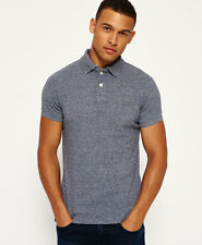 New Mens Superdry Classic Grindle Pique Polo Shirt Navy Grit Grindle