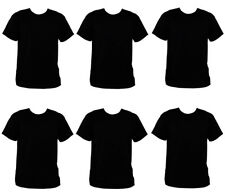 PACK OF 6 MENS BLACK CREW NECK T-SHIRT 100% COTTON ADULT SUMMER FASHION S-XXL