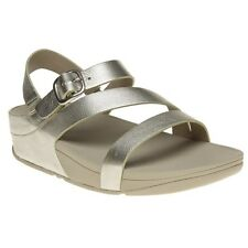 New Womens FitFlop Metallic The Skinny Z Cross Leather Sandals Buckle