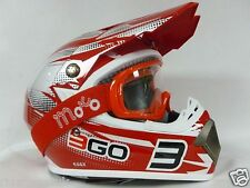 Casco Motocross 3GO E66X Casco Moto Quad Scooter Off Road Enduro PIT DIRT, Rosso