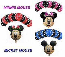 """POLKA DOT & 18"""" inch MICKEY& MINNIE MOUSE FOIL BALLOONS MIX PACK baloons"""