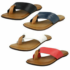 LADIES LEATHER COLLECTION TOE POST FLAT CASUAL SLIP ON SUMMER MULE SANDALS F0929