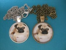 Pug Puppy Necklace & Pendant Glass Metal Chain Silver or Bronze Tone Dog