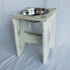 "Elevated Dog Bowl Stand - Wooden - 1 Bowl - 400 mm / 16"" Tall - Raised Dog Bowl"