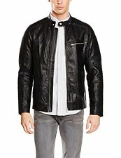 TOM TAILOR Denim Biker leather look jacket, Blouson Homme, Noi [4057655809898]