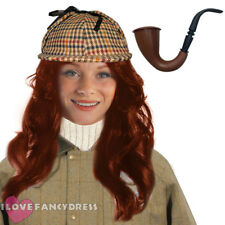HORRIBLE AUNTIE FANCY DRESS DEERSTALKER HAT AND RED WIG COSTUME ACCESSORY KIT