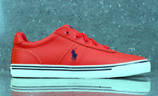 Ralph Lauren Polo Hanford Textura granulosa Cuero Rojo Zapatillas SHIP WORLDWIDE