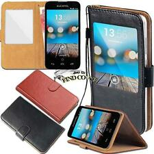 For Alcatel OneTouch POP Phones window view Flip Leather Wallet Stand Cover Case