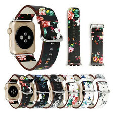 Fashion Flower Floral Leather Watch Band Strap Belt for Apple Watch iWatch 42mm