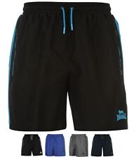 NUOVO Lonsdale Two Stripe Woven Shorts Mens Black/Charcoal