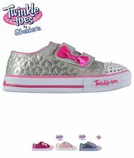 OFFERTA Skechers Twinkle Toes Shuffles Starlight Infants Trainers Hot Pink/Pink
