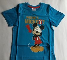 Boys Blue T Shirt with Disney Mickey Mouse detail.18-24 months, 2-3 & 3-4 years