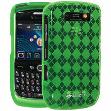 Amzer Luxe Argyle Skin Back Case Cover For BlackBerry Curve 8900 -Green