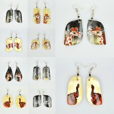HANDMADE AFRICAN TRIBAL ETHNIC EARRINGS, ANIMAL-PRINT SUMMER UNIQUE HOLIDAY GIFT