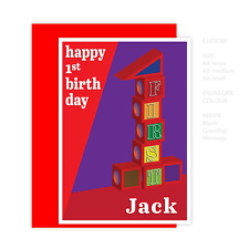 1st First happy birthday card for boy or girl number 1 red blocks one year old