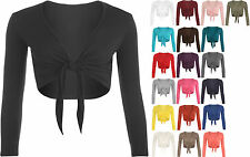 New Ladies Long Sleeve Tie Up Front Plain Cropped Shrug Womens Cardigan Top AF