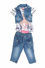 Arshia Fashions Girls Dress Top and Capri with Denim Jacket