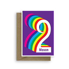 Personalised 2nd Happy Birthday Card For Boy Girl Edit Name Colourful 2 Bday