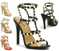 Womens Ladies Strappy Stiletto High Heel Peep Toe studded Evening Sandals Shoes