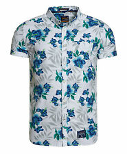 Superdry Hombre Camisa Miami Oxford Large Hibiscus Blanco