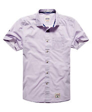Superdry Hombre Camisa Laundered con cuello italiano Louisiana Purple
