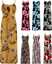New Ladies Strappy Sleeveless Floral Print Stretch Long Maxi Women's Dress Plus