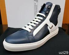 NIB Versace Collection by Versace Men's Hi Top Sneakers Navy & Wht Calf Leather