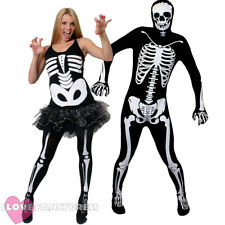 COUPLES SKELETON FANCY DRESS COSTUME MENS SKINSUIT LADIES TUTU OUTFIT HALLOWEEN