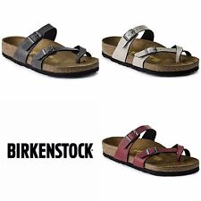 Womens Birkenstock Mayari Normal Fit in Pull Up Stone, Anthracite and Bordeaux